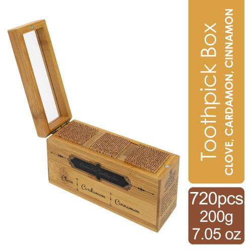 Toothpick Box - Cinnamon, Cardamom, Clove 720 pcs / 200 grams / 7.05 oz